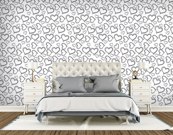 Abstract Wallpaper. Heart Pattern Wall Mural. Non Woven Wallpaper Bedroom.  Black and White Wallpaper. Modern Wallpaper Self Adhesive WP33
