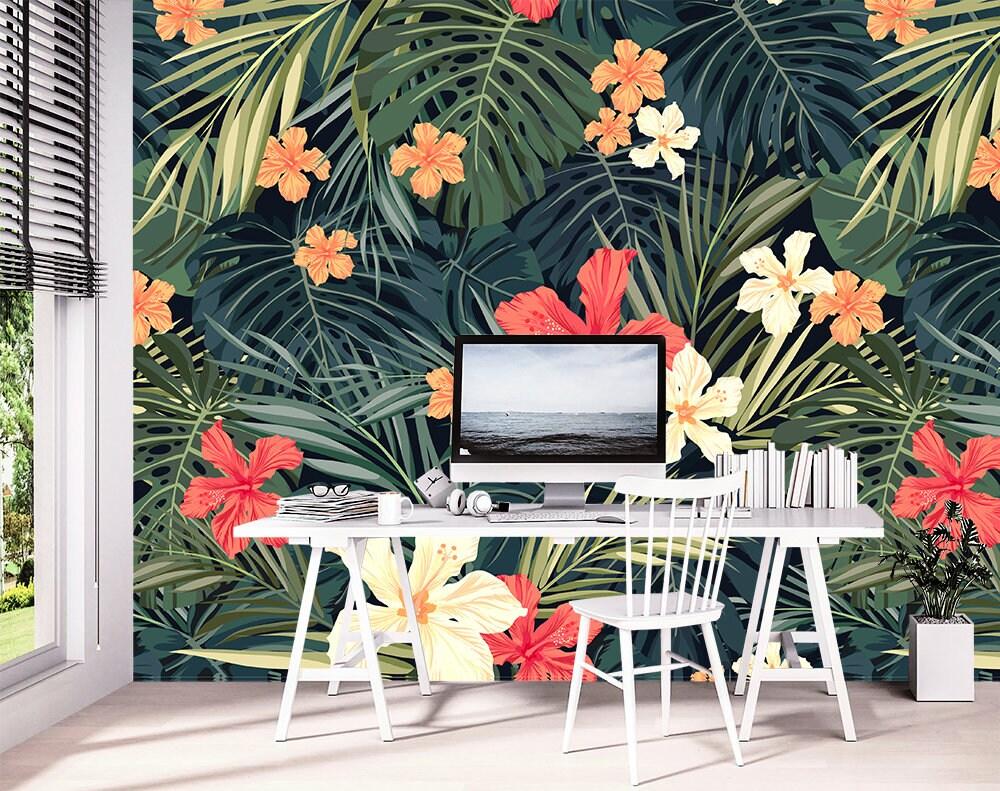 Floral Wallpaper Tropical Wallpaper Wallpaper Murals Etsy