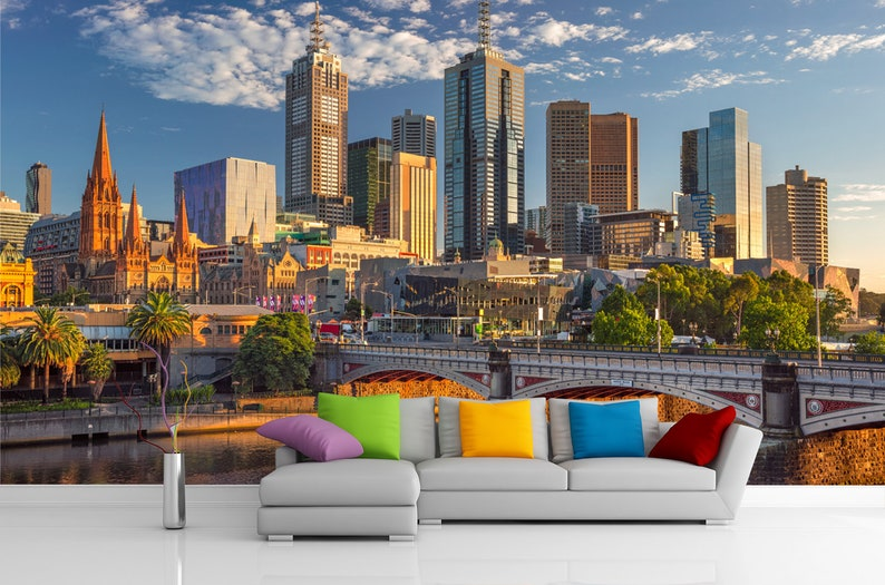 3D City Wallpaper. Cityscape Wall Mural. Skyline Removable