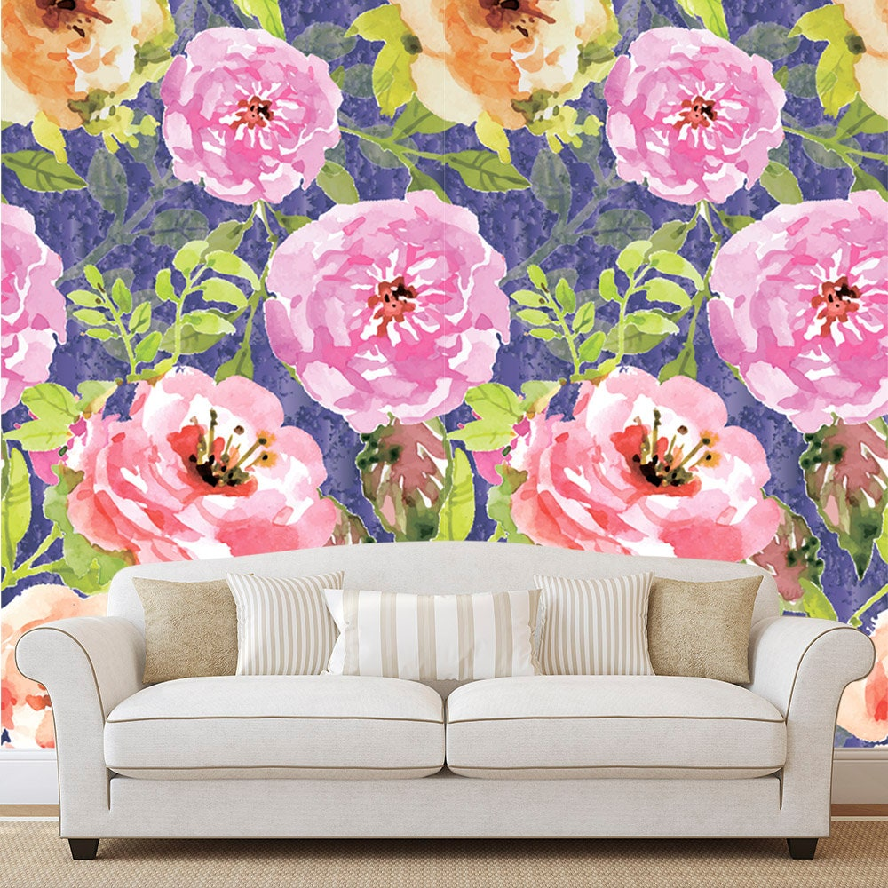 Watercolor Flower Wallpaper Removable Self Adhesive Floral Etsy