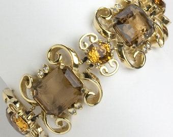 Topaz, Diamanté & Gold Scroll 1950s Bracelet by Elsa Schiaparelli
