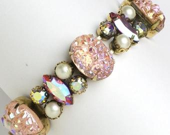 Pink Lava Rock, Shocking Pink, Pearl & Diamanté 1950s Bracelet by Elsa Schiaparelli
