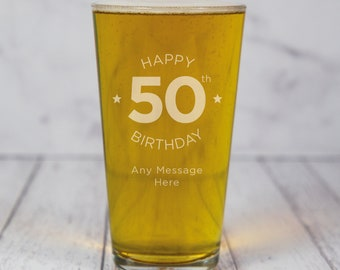 Personalised Pint Glass Engraved Gift Ideas Gifts For Him Any Message Age Birthday 18th 21st 30th 50th 60th
