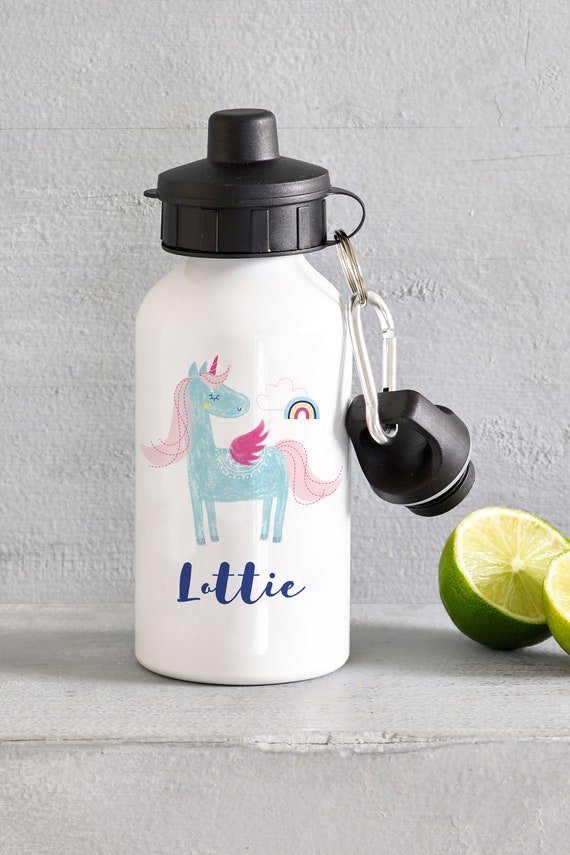 PERSONALISED  400ML WATER BOTTLE ANY NAME*GIFT*SCHOOL*SPORTS* UNICORN DESIGN