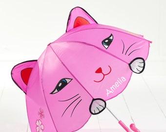 Personalised Kids Umbrella, Kids Umbrella, Childrens Animal Umbrella, Any Name, Gifts for Children, Cat Umbrella, Pink