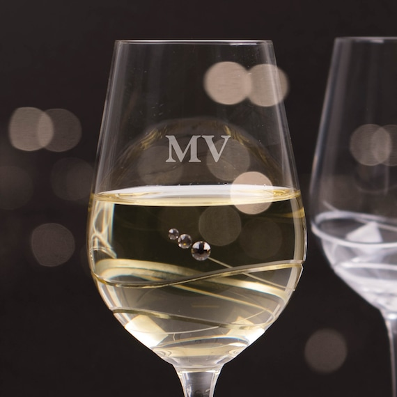 Personalised Diamante Wine Glass Laser Engraved Gift Ideas | Etsy