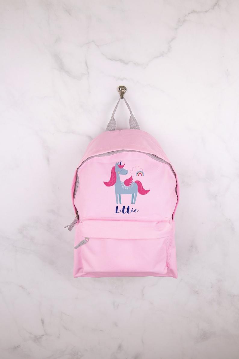 Personalised Unicorn Backpack Any Name Kids Childrens Girls Back To School Bag