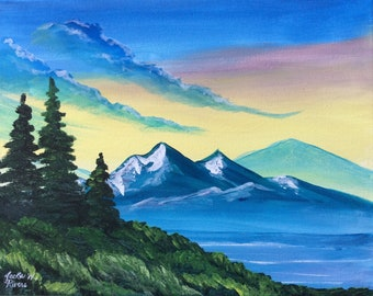 Mountain Acrylic Painting, Original on Stretched Canvas