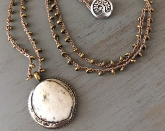 Bohemian Crocheted Necklace with Naga Shell Pendant
