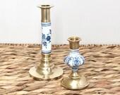 Vintage Brass Porcelain Candlestick Holders