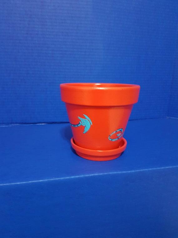 Peint à La Main 6 Rouge Et Bleu Papillon Pot En Terre Cuite Pot En