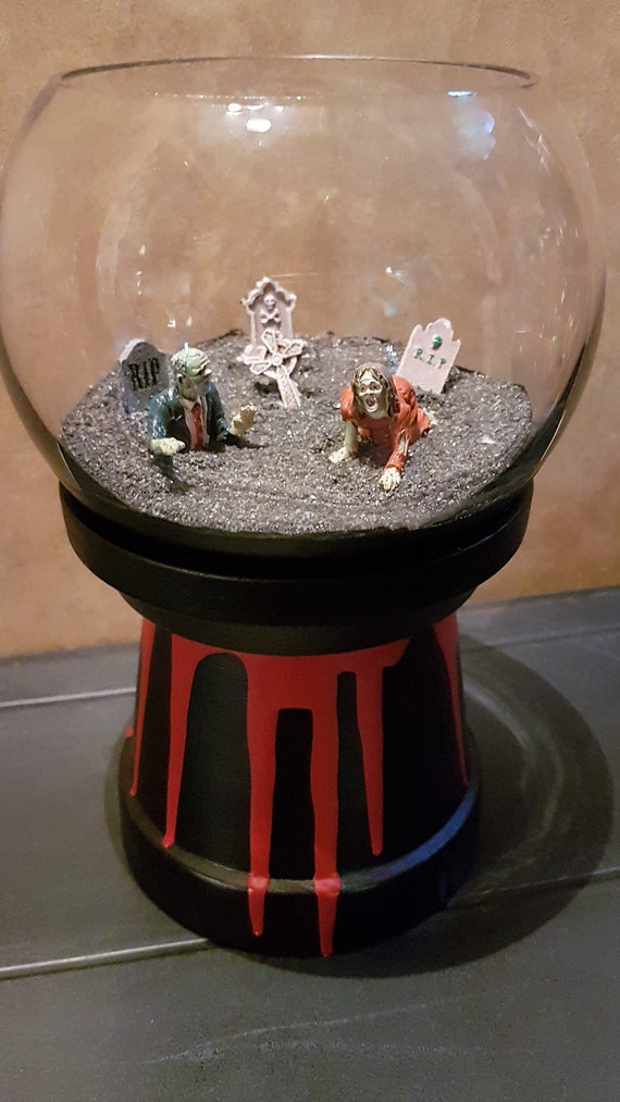 Mini Zombie Graveyard Terrarium With Light Etsy