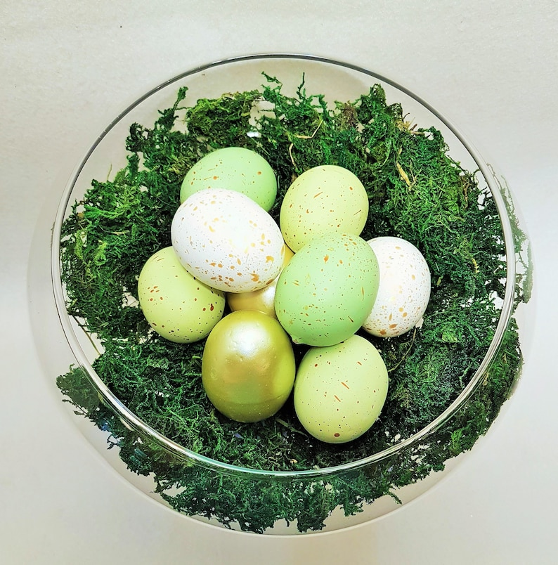 Easter Egg Table Centerpiece in Green and Gold