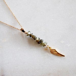 Necklace Boho Necklace Pick your raw gemstone Necklace Angel Wing Necklace Birthday gifts Necklaces for women Gift for her