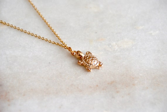 Gold Turtle Necklace Dainty Gold Necklace Bridesmaid Gift Etsy