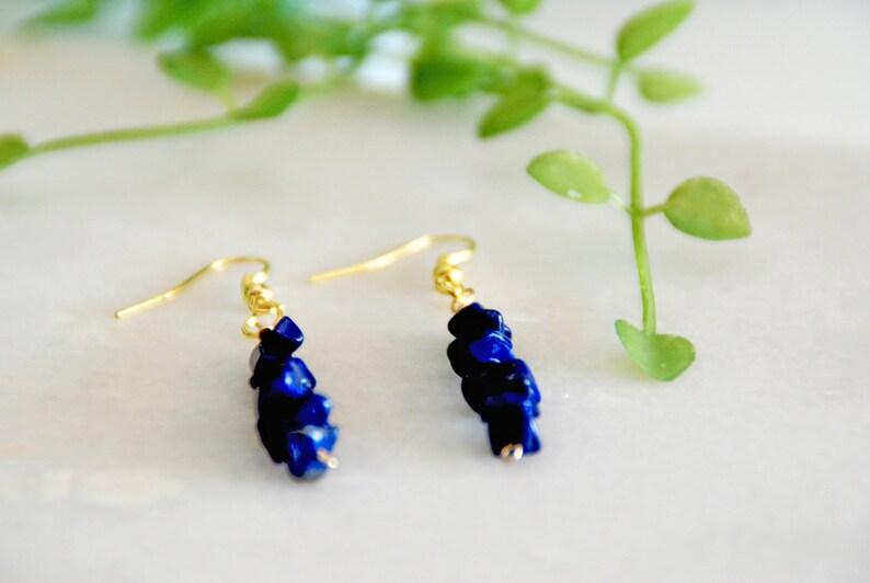 Birthday gift Lapis Lazuli September Birthstone Chip Bead Earrings Boho Earrings Dark Blue Gemstone earrings Gold Tone Gift for her