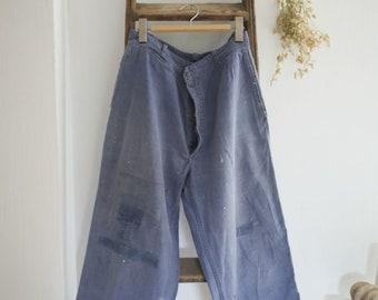80s French Workwear Blue Pants  Traditional Sanforized Cotton Bleu de Travail Indigo  Cropped Straight Leg  Button Fly  31x25  S M