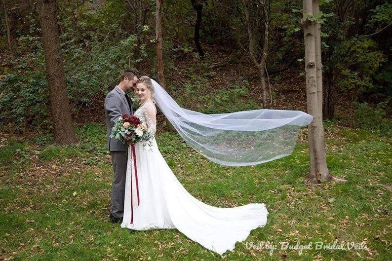 Chapel length veil soft veil standard veil cut edge image 0