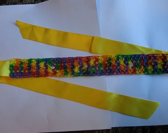 Crochet Headband, Rainbow/Yellow