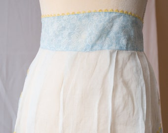 Vintage Sheer Blue, White and Yellow Apron
