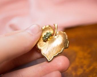 Vintage Gold Leaf Brooch with Green Gemstone