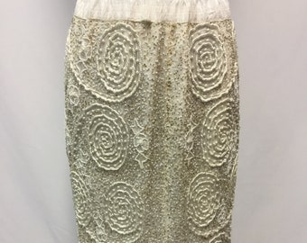 RARE Christian Dior Le Connaisseur Vintage 1980s White Beaded Evening Skirt Size Medium