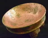 Handmade copper patina wooden bowl