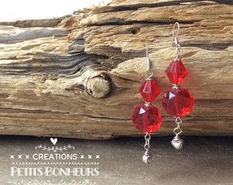 Earrings, red earrings, women jewelry