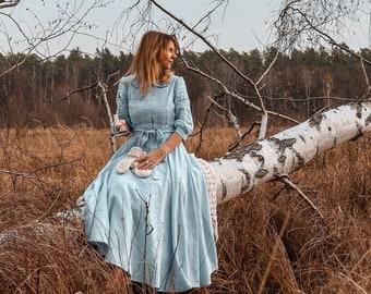 OPHELIA linen dress with peter pan collar, 3/4 sleeves, wedding dress, midi, maxi dress, evening retro dress, shirt dress, full circle dress