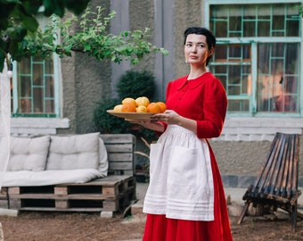 ELIZA linen apron, half apron, apron with pockets, retro apron