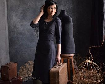 BALLERINA cotton dress, retro style dress, warm midi dress, casual dress, women dress, 3/4 sleeves dress, evening dress, a-line silhouette