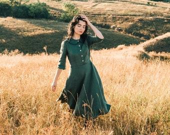 SELMA close fitting linen dress with 3/4 sleeves, midi dress, casual dress, half circle dress, dress with pockets, shirt dress, retro dress