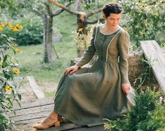 VICTORIA linen dress decorated with lace, boat neck, long sleeves, midi, maxi dress, evening retro dress, shirt dress, half circle skirt
