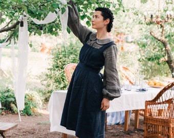 KEIRA MIDI close fitting linen pinafore dress, linen sundress, sarafan, pinafore dress with handmade folds, asymmetric and pleated skirt