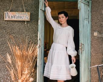ARIA Linen White Petticoat, Petticoat Skirt, Petticoat Slip, Lace Edged, Linen Petticoat, Linen Underskirt, White Underskirt, Linen Skirt