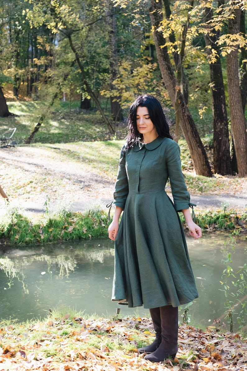 Cottagecore Clothing, Soft Aesthetic SERENA close fitting linen dress with 3/4 sleeves midi dress casual dress full circle dress dress with pockets shirt dress retro dress $140.25 AT vintagedancer.com