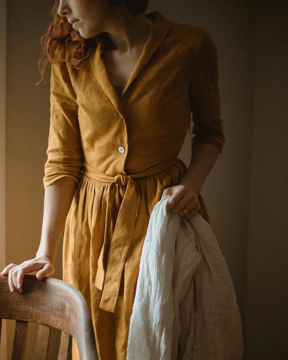 pleated dress dress with pockets midi dress dress with shawl collar AUDREY close fitting linen dress retro dress evening dress
