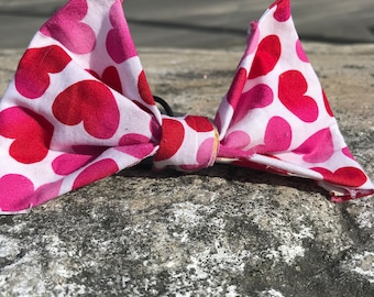 Pink and Red Hearts Bow