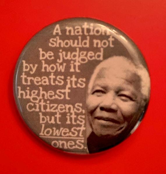 Nelson Mandela 1.25 inch political button black history BLM