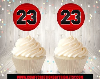 huge discount 116d4 03716 Jordan Cupcake Topper, Micheal Jordan Cupcake Topper, Jordan Labels,  Micheal Jordan Birthday Party Favors, 23 Custom Party Treats, Jumpman