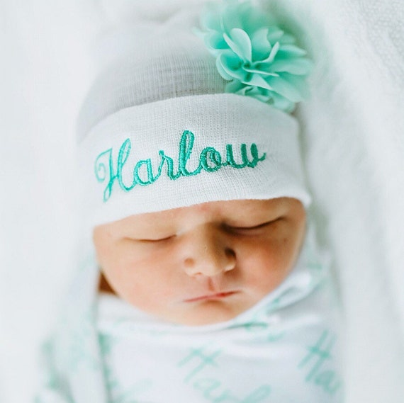 Personalized Newborn Girl Hospital hat Newborn girl hat  34adfd4da97