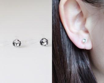 Clear Crystal Beaded Ear Climbers Clip ons