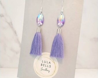 39e3151dc Purple teardrop tassel earrings