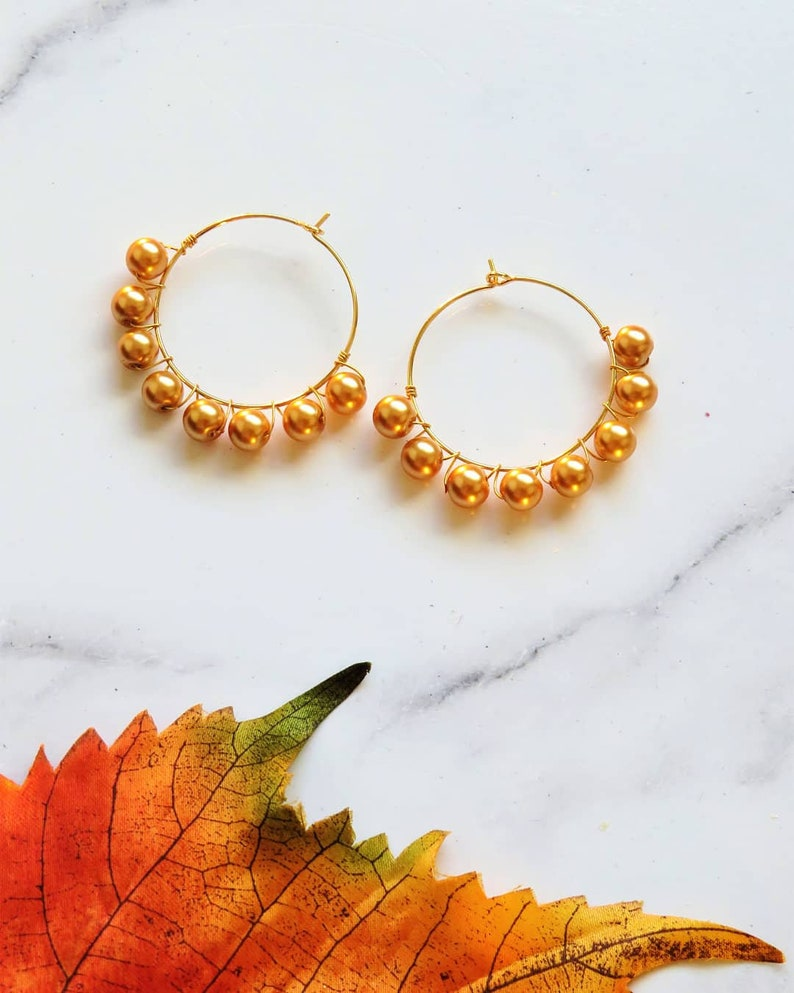 Pearl beaded gold plated hoops