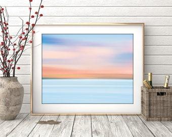 Dreamy Coast Print - #135, Isle of Skye Home Decor, Abstract Wall Art, Blue Teal Orange Purple Large Canvas Print, Printable Art