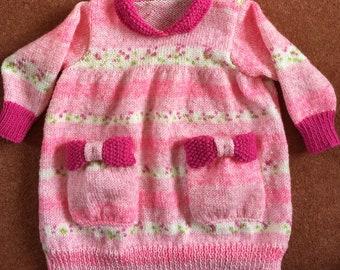 Cute sweater dress hand knitted