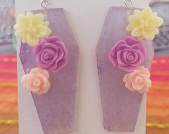 Pastel spring coffin earrings