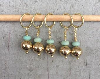 Gold & Teal Stitch Marker Set