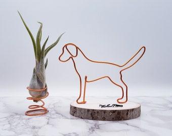 Wire sculpture of labrador retriever, golden retriever, personalize, custom, dog, wire art, office decor, dog lovers, desk accessories
