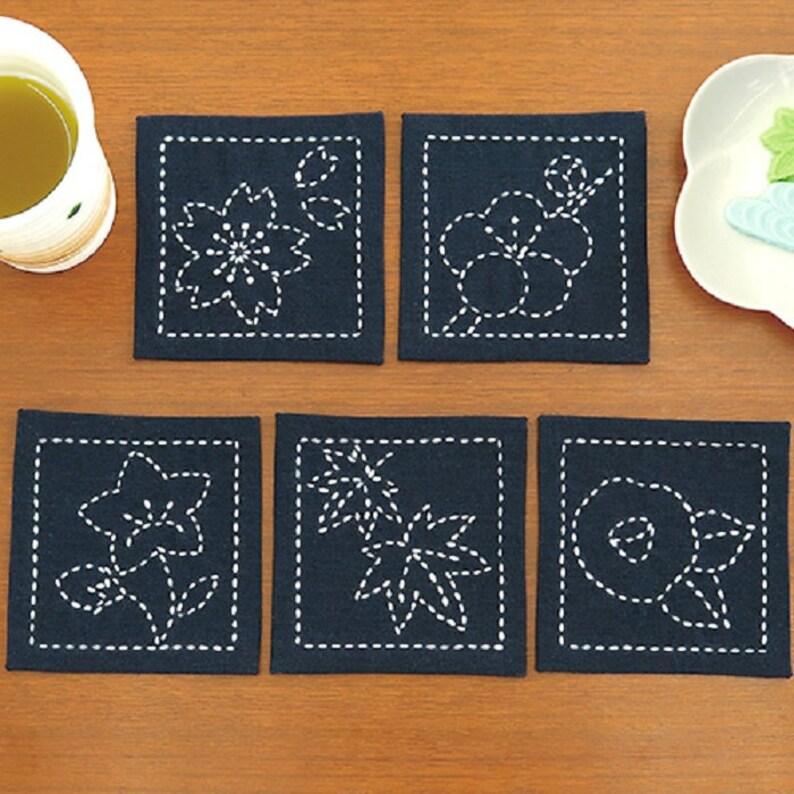 Japanese traditional embroidery sashiko coaster 2 6pcs with thread KINARI\u3000 FUJIKYU